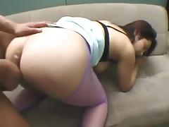 Hairy asian with hot tits gets her holes fucked
