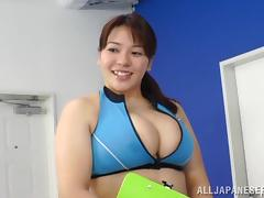 Big tit Asian in the gym gets hairy cunt banged in MMF threeaome