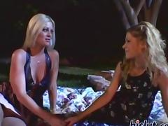 Brooke brings her friend along for an outdoor threesome