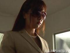 Sexy Japanese bitch enjoys rear pounding in hardcore MMF clip