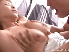 Curvy Asian pussy massages dick after BJ and titjob