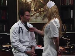 Lovely porn hottie Kayden Kross in nurse uniform sucks a horny physician