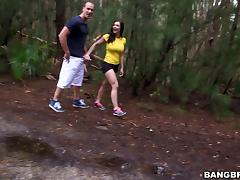 Curvy brunette Kendra Lust gets fucked in a forest and on the poolside