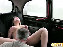 Ashley gets pounded inside the taxi
