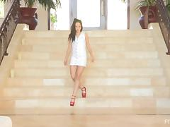 Violet poses for the cam on the stairs in solo sex video