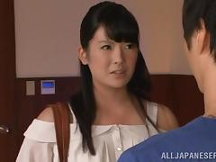 Azusa Ishihara allows a few men to rub and fuck her Japanese twat