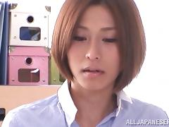 Japanese in nylons gives BJ in office and gets pussy fingered and fucked