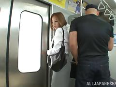 Horny asian sweet lady Ruri Saijoh gives deep blowjob in public place