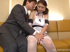 Yurie Matsushi in maid uniform and fishnet get cum in mouth after BJ