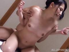 Asian with small tits rides dick in tight cunny and gives BJ