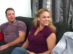 Tattooed Cougar With Hot Ass Giving Multiple Dicks Blowjob