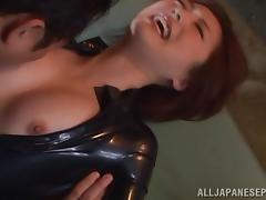Ai Haneda naughty milf in latex suit is into bondage game tube porn video