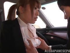 Asian couple getting wild and hardcore car fucking