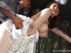 Big tits Asian Momoka Nishina hardcore banged outdoor