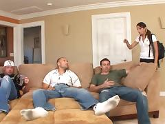 Amber Rayne gets her asshole slammed doggy style in a gangbang
