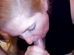 Wife gives a quick BJ to her hubby previous to her sexy date tube porn video