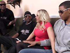 Angel Allwood gets her holes stunningly fucked in interracial gangbang