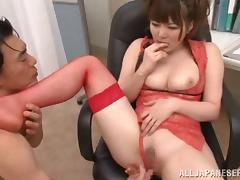 Voluptuous Japanese Babe In Fishnet Stockings Getting Hammered