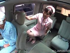 Naughty hot ass nurse starts sucking cock on the back seat