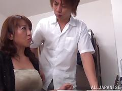 Busty Asian MILF sucks cock in panties in the office