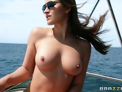 Dani Daniels gets her mouth and cunt fucked on a boat in MMF clip