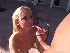 Cassie Courtland licks a weiner and enjoys rear banging