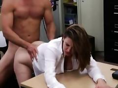 Foxy big boobs business lady pussy pounded in the pawnshop