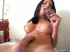 Beautiful hot ass brunette tranny Bianca Freire fucks a huge dildo