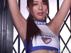 Beautiful hot ass chick Jessica Kizaki gives dick a hot pure blowjob
