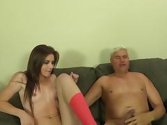 Slim cutie Emma Stoned blows and gets her pussy smashed