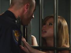 Sexy porn star with gorgeous tits enjoying a hardcore fuck in a prison