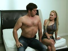 Sizzling blonde with huge tits enjoying a hardcore cowgirl style fuck