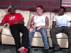 A homo gets his asshole destroyed by two black studs