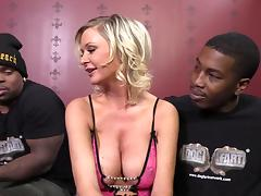 Interracial MMF banging with busty blonde milf Allison Kilgore