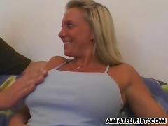 Bosomy blonde sucks a shaft and takes a great ride on it