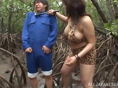 chubby japanese blonde enjoys forest sex on cumshot porn tube video