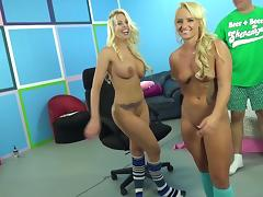 Britney Amber and Cali Carter are perfect tanned blondes in fuck threesome tube porn video