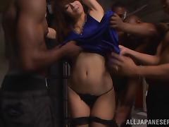 Interracial gangbang scene with Japanese milf Maki Hokujo