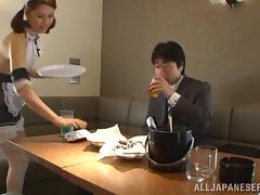 Japanese maid Yurie Matsushi lets a guy lick her twat and sucks his dick