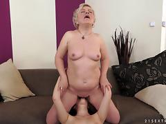 mature granny wistfully lick and finger pussies in mature lesbian
