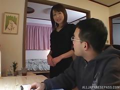 Sexy Asian cougar with big natural tits enjoying a hardcore fuck on her bed