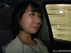 Asian couple car fucking in a van in a parking lot