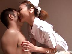 Naughty japanese nurse Mio Kuraki enjoys patient's fuck exam tube porn video