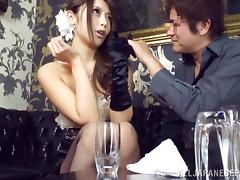 japanese babe in fishnet gets her cunt licked then fucked hardcore