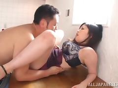 busty japanese babe in bra gives amazing hardcore tit-fuck
