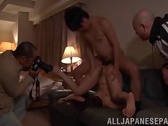 Gorgeous Asian girl with a hairy pussy enjoying a hardcore MMF threesome