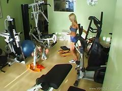 sporty lesbians with fake tits fuck using toys in the gym porn tube video