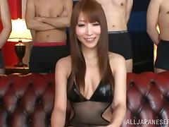 Rei Aimi lets a man toy her Japanese pussy and cum on her face