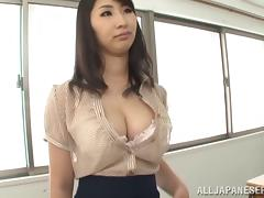 Asian teacher in miniskirt gets her huge boobs played with