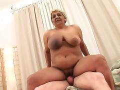 big boob oma riding